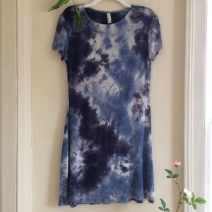 American Apparel Blue White Tie Dye T-Shirt Dress